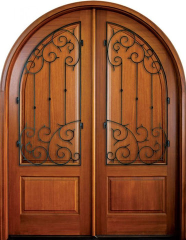 WDMA 68x78 Door (5ft8in by 6ft6in) Exterior Mahogany Pinehurst Solid Panel Double/Round Top w Septima Iron 1