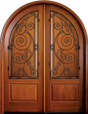 WDMA 68x78 Door (5ft8in by 6ft6in) Exterior Mahogany Pinehurst Solid Panel Double/Round Top w Ansonborough Iron 1