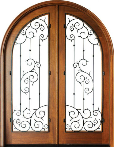 WDMA 68x78 Door (5ft8in by 6ft6in) Exterior Mahogany Charleston Septima Double/Round Top 1