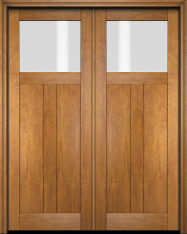 WDMA 68x78 Door (5ft8in by 6ft6in) Exterior Barn Mahogany Top Lite Craftsman or Interior Double Door 1