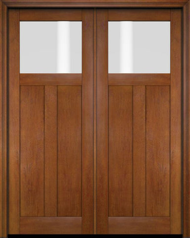 WDMA 68x78 Door (5ft8in by 6ft6in) Exterior Barn Mahogany Top Lite Craftsman or Interior Double Door 4