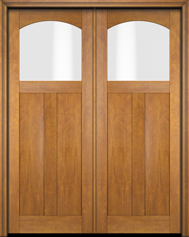 WDMA 68x78 Door (5ft8in by 6ft6in) Interior Swing Mahogany Arch Lite 2 Panel Craftsman Exterior or Double Door 1