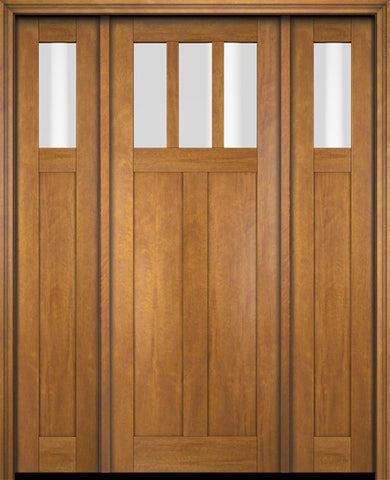 WDMA 68x78 Door (5ft8in by 6ft6in) Exterior Swing Mahogany 3 Horizontal Lite Craftsman Single Entry Door Sidelights 1