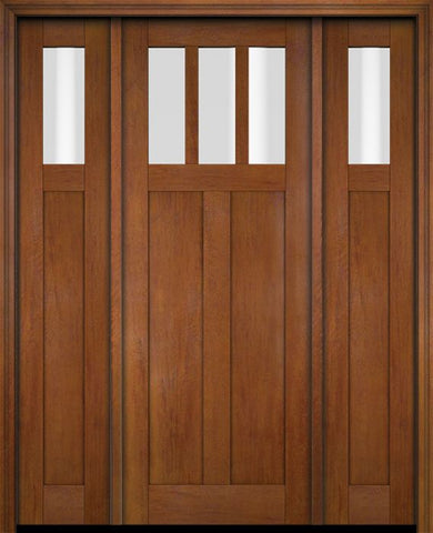WDMA 68x78 Door (5ft8in by 6ft6in) Exterior Swing Mahogany 3 Horizontal Lite Craftsman Single Entry Door Sidelights 4