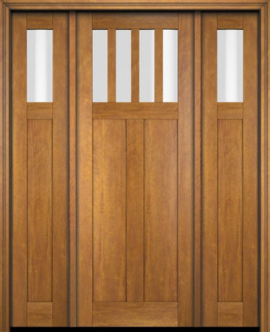 WDMA 68x78 Door (5ft8in by 6ft6in) Exterior Swing Mahogany 4 Horizontal Lite Craftsman Single Entry Door Sidelights 1