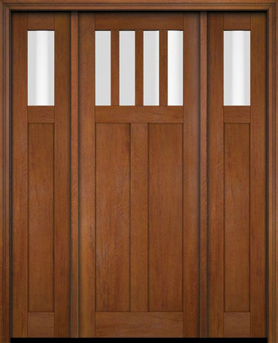 WDMA 68x78 Door (5ft8in by 6ft6in) Exterior Swing Mahogany 4 Horizontal Lite Craftsman Single Entry Door Sidelights 4