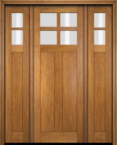 WDMA 68x78 Door (5ft8in by 6ft6in) Exterior Swing Mahogany 4 Lite Craftsman Single Entry Door Sidelights 1