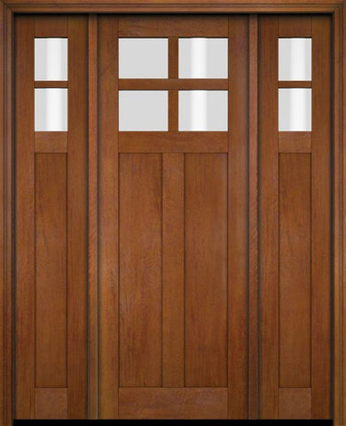 WDMA 68x78 Door (5ft8in by 6ft6in) Exterior Swing Mahogany 4 Lite Craftsman Single Entry Door Sidelights 4
