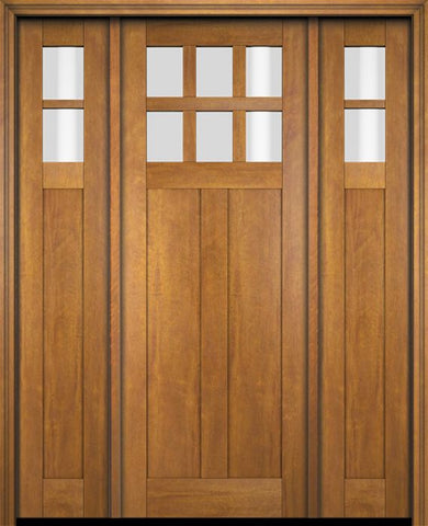 WDMA 68x78 Door (5ft8in by 6ft6in) Exterior Swing Mahogany 6 Lite Craftsman Single Entry Door Sidelights 1