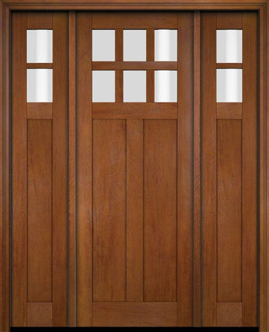 WDMA 68x78 Door (5ft8in by 6ft6in) Exterior Swing Mahogany 6 Lite Craftsman Single Entry Door Sidelights 4
