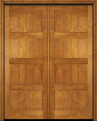 WDMA 68x78 Door (5ft8in by 6ft6in) Interior Swing Mahogany 4 Panel V-Grooved Plank Rustic-Old World Exterior or Double Door 1