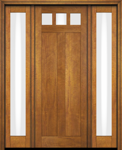 WDMA 68x78 Door (5ft8in by 6ft6in) Exterior Swing Mahogany Top View Lite Craftsman 2 Panel Two Sidelight or Interior Single Door 1