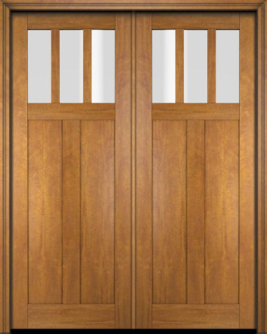 WDMA 68x78 Door (5ft8in by 6ft6in) Interior Swing Mahogany 3 Horizontal Lite Craftsman Exterior or Double Door 1