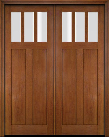 WDMA 68x78 Door (5ft8in by 6ft6in) Interior Swing Mahogany 3 Horizontal Lite Craftsman Exterior or Double Door 4