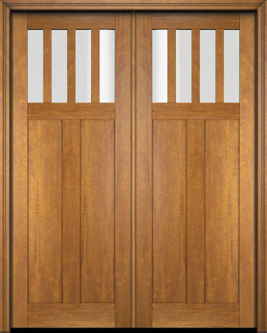 WDMA 68x78 Door (5ft8in by 6ft6in) Exterior Barn Mahogany 4 Horizontal Lite Craftsman or Interior Double Door 1