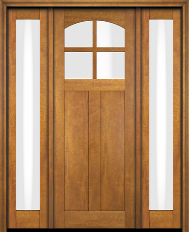 WDMA 68x78 Door (5ft8in by 6ft6in) Interior Swing Mahogany 4 Arch Lite Craftsman 2 Panel Two Sidelight Exterior or Single Door 1