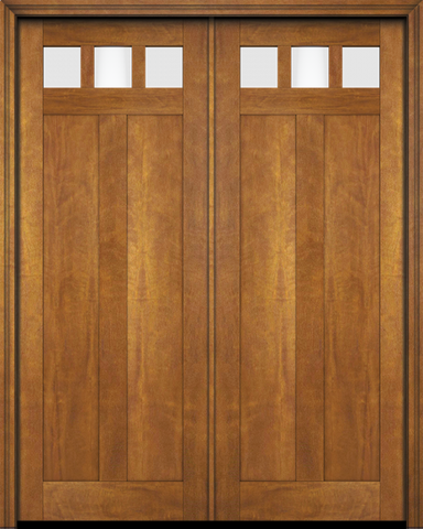 WDMA 68x78 Door (5ft8in by 6ft6in) Exterior Barn Mahogany Top View Lite Craftsman 2 Panel or Interior Double Door 1