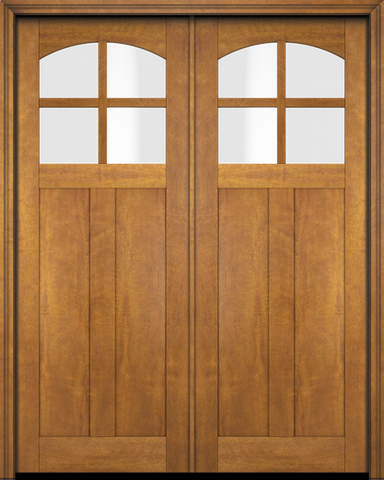 WDMA 68x78 Door (5ft8in by 6ft6in) Interior Swing Mahogany 4 Arch Lite Craftsman 2 Panel Exterior or Double Door 1