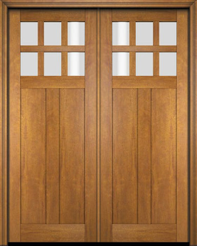 WDMA 68x78 Door (5ft8in by 6ft6in) Interior Swing Mahogany 6 Lite Craftsman Exterior or Double Door 1