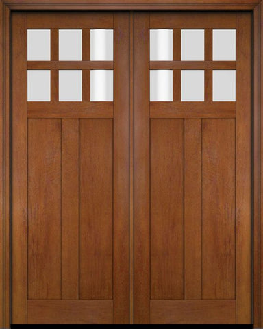 WDMA 68x78 Door (5ft8in by 6ft6in) Interior Swing Mahogany 6 Lite Craftsman Exterior or Double Door 4