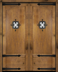 WDMA 68x78 Door (5ft8in by 6ft6in) Exterior Barn Mahogany Rustic 2 Panel or Interior Double Door with Speakeasy / Straps 1