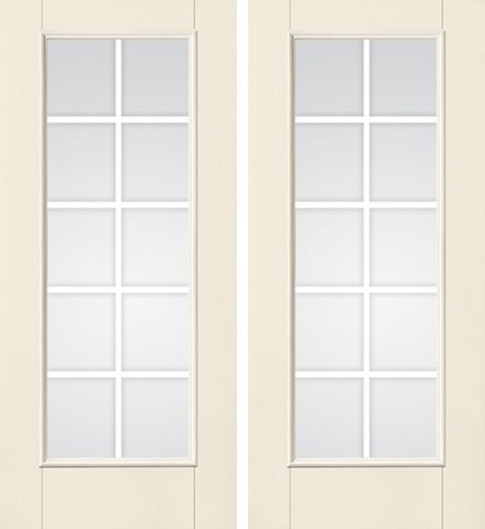 WDMA 68x80 Door (5ft8in by 6ft8in) French Smooth F-Grille Colonial 10 Lite Star Double Door 1