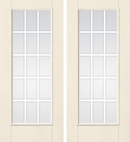 WDMA 68x80 Door (5ft8in by 6ft8in) Patio Smooth F-Grille Colonial 15 Lite Full Lite W/ Stile Lines Star Double Door 1