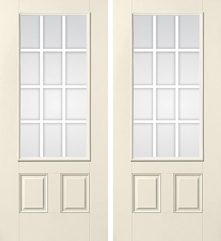 WDMA 68x80 Door (5ft8in by 6ft8in) Patio Smooth GBG Flat Wht Colonial 12 Lite Star Double Door 1