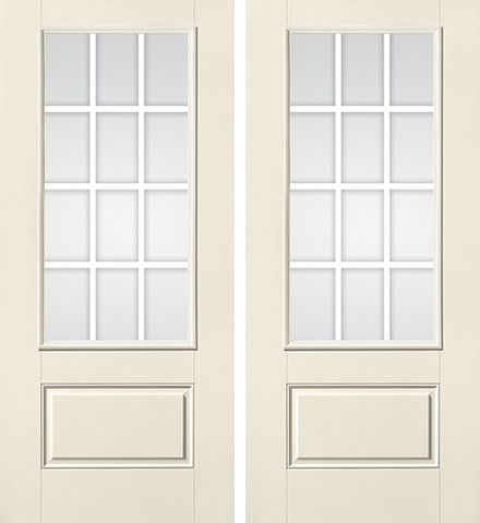 WDMA 68x80 Door (5ft8in by 6ft8in) French Smooth GBG Flat Wht Colonial 12 Lite 3/4 Lite 1 Panel Star Double Door 1
