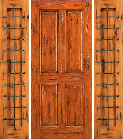 WDMA 68x80 Door (5ft8in by 6ft8in) Exterior Knotty Alder Prehung Door with Two Sidelights 4-Panel 1