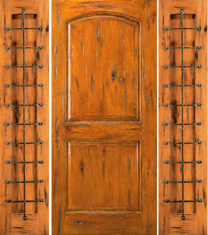 WDMA 68x80 Door (5ft8in by 6ft8in) Exterior Knotty Alder Prehung Door with Two Sidelights 1