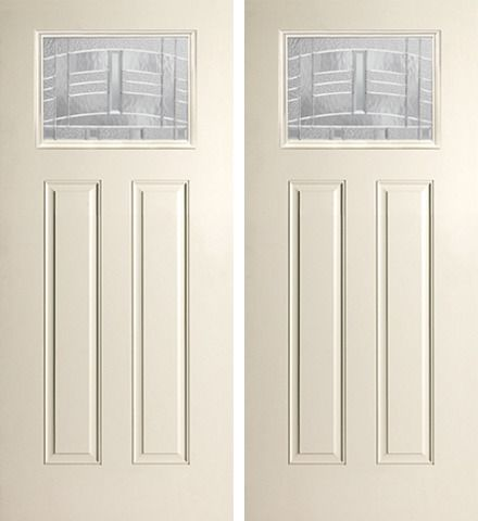 WDMA 68x80 Door (5ft8in by 6ft8in) Exterior Smooth MaplePark Craftsman Lite 2 Panel Star Double Door 1