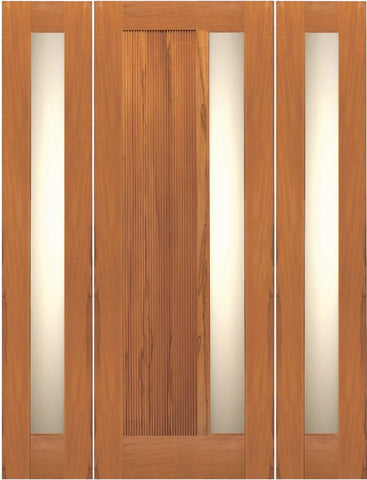 WDMA 68x80 Door (5ft8in by 6ft8in) Exterior Tropical Hardwood Contemporary Single Door Two Sidelights Insulated Matte Glass 1