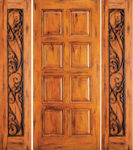WDMA 68x80 Door (5ft8in by 6ft8in) Exterior Knotty Alder Door with Two Sidelights 8-Panel 1