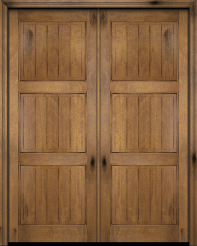WDMA 68x80 Door (5ft8in by 6ft8in) Exterior Barn Mahogany 3 Panel V-Grooved Plank Rustic-Old World or Interior Double Door 1