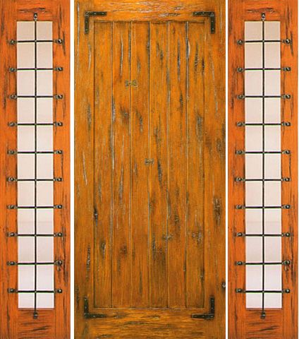 WDMA 68x80 Door (5ft8in by 6ft8in) Exterior Knotty Alder Prehung Door with Two Sidelights Straps 1