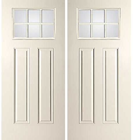 WDMA 68x80 Door (5ft8in by 6ft8in) Exterior Smooth SDL Low-E Craftsman 6 Lite 8ft 2 Panel Star Double Door 1