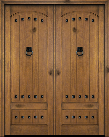 WDMA 68x80 Door (5ft8in by 6ft8in) Interior Barn Mahogany 3/4 Arch Top Panel V-Grooved Plank Exterior or Double Door with Clavos 1