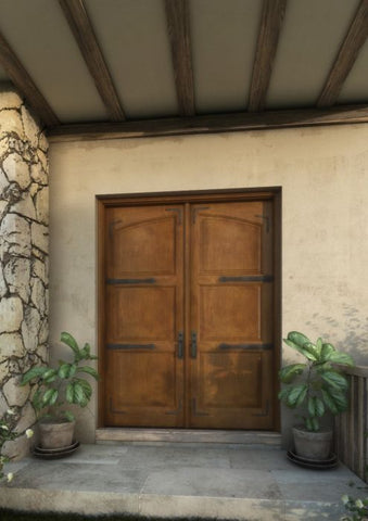 WDMA 68x80 Door (5ft8in by 6ft8in) Interior Swing Mahogany Arch Top 2 Panel Rustic-Old World Home Style Exterior or Double Door with Corner Straps / Straps 1
