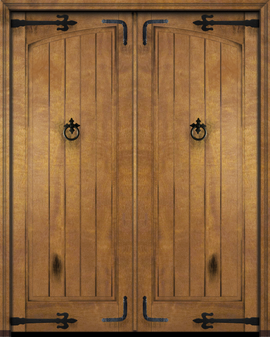 WDMA 68x80 Door (5ft8in by 6ft8in) Interior Swing Mahogany Arch Panel Rustic V-Grooved Plank Exterior or Double Door with Corner Straps / Straps 2