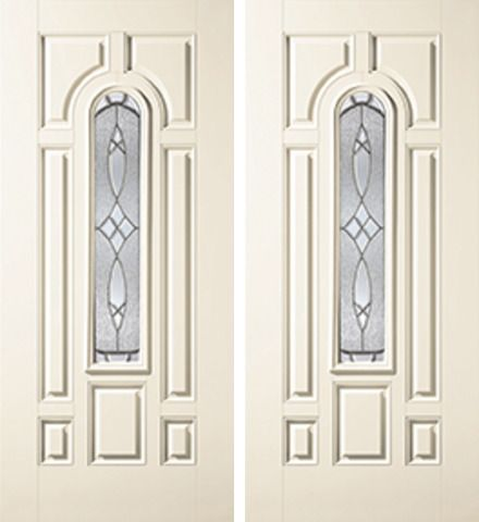 WDMA 68x80 Door (5ft8in by 6ft8in) Exterior Smooth Blackstone Center Arch Lite 7 Panel Star Double Door 1