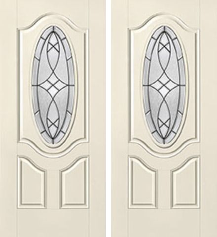 WDMA 68x80 Door (5ft8in by 6ft8in) Exterior Smooth Blackstone 3/4 Deluxe Oval Lite 2 Panel Star Double Door 1