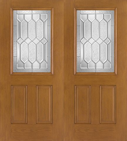 WDMA 68x80 Door (5ft8in by 6ft8in) Exterior Oak Fiberglass Impact Door 1/2 Lite Crystalline 6ft8in Double 1
