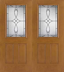 WDMA 68x80 Door (5ft8in by 6ft8in) Exterior Oak Fiberglass Impact Door 1/2 Lite Blackstone 6ft8in Double 1