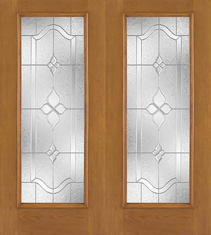 WDMA 68x80 Door (5ft8in by 6ft8in) Exterior Oak Fiberglass Impact Door Full Lite Concorde 6ft8in Double 1