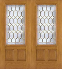 WDMA 68x80 Door (5ft8in by 6ft8in) Exterior Oak Fiberglass Impact Door 3/4 Lite Crystalline 6ft8in Double 2-Panel 1
