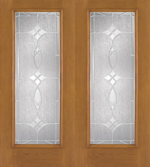 WDMA 68x80 Door (5ft8in by 6ft8in) Exterior Oak Fiberglass Impact Door Full Lite Blackstone 6ft8in Double 1