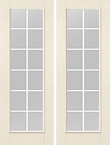 WDMA 68x96 Door (5ft8in by 8ft) Patio Smooth F-Grille Colonial 12 Lite 8ft Full Lite W/ Stile Lines Star Double Door 1