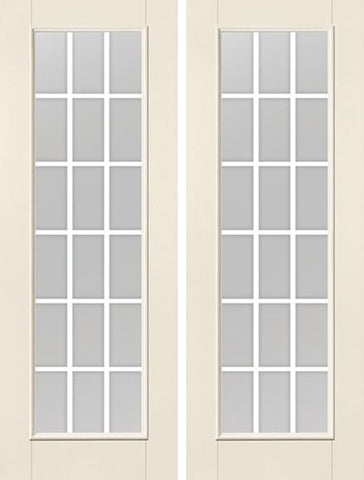 WDMA 68x96 Door (5ft8in by 8ft) Patio Smooth F-Grille Colonial 18 Lite 8ft Full Lite W/ Stile Lines Star Double Door 1