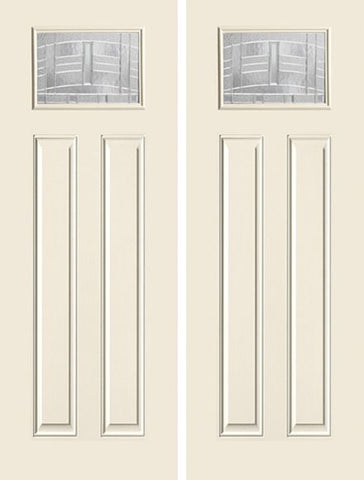 WDMA 68x96 Door (5ft8in by 8ft) Exterior Smooth MaplePark 8ft Craftsman Lite 2 Panel Star Double Door 1